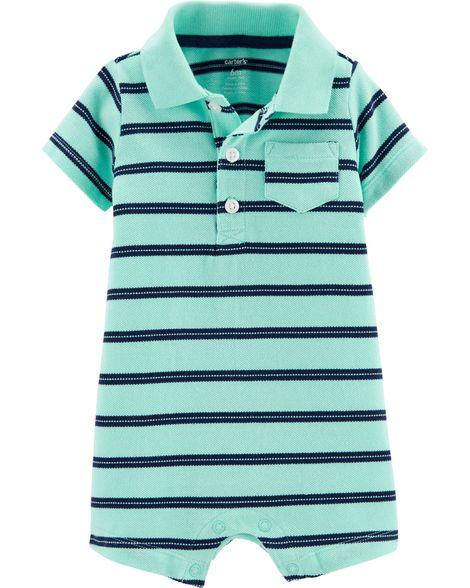 Carter's Striped Piqué Polo Romper  Modelo 16574112