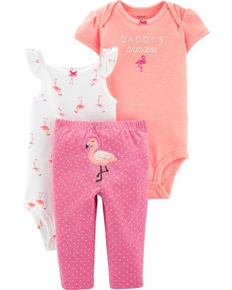 Carter's 3-Piece Neon Flamingo Little Character Set  Modelo 16627911