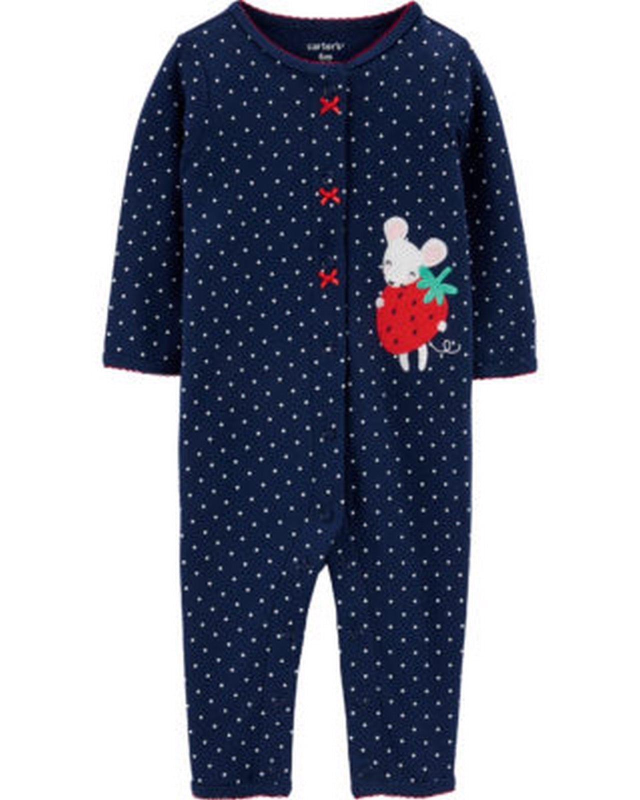 Carter's Strawberry Mouse Snap-Up Cotton Footless 1H299810
