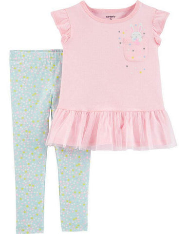 Carter's Baby Girls 2-Pc. Bunny Peplum Top & Dot-Print Leggings Set 1H327010