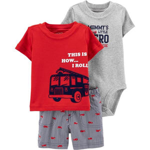 Carter's 3-Piece Firetruck Little Short Set 1H350610