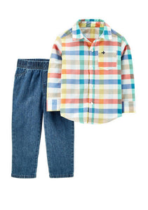 Carter's Baby Boys Multi 2 Piece Plaid Button Front and Twill Denim Pants Set 1H358410
