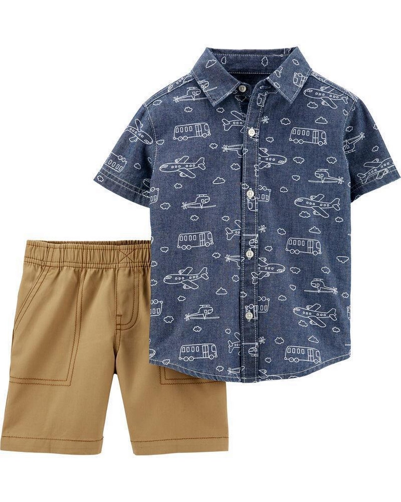 Carter's Baby Boy 2 Piece Chambray Button-Front Shirt & Canvas Shorts Set 1H360010