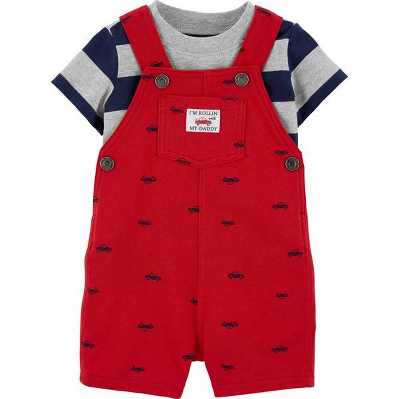 Carter's 2-Piece Striped Tee & Car Shortalls Set 1H361810
