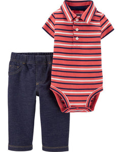 CArter's Baby Boys Red Polo Bodysuit Leggings Set 1H447010