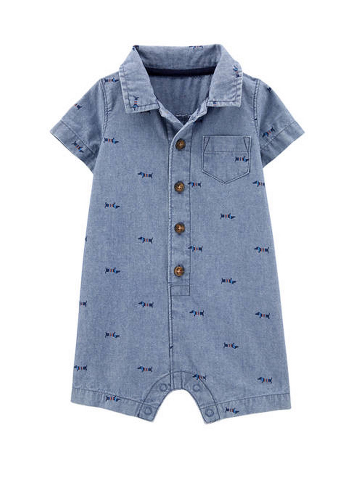 Carter's Baby Boys Dog Chambray Romper  1H498810