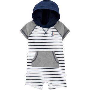 Carter's Baby Boys Striped Hooded Romper 1H498910