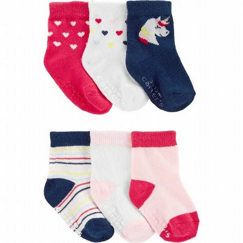 Carter's Girls 6pk Pink/Navy Ankle Socks 1H569210