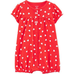 Carter's Baby Girls Heart Snap-Up Romper 1H803110