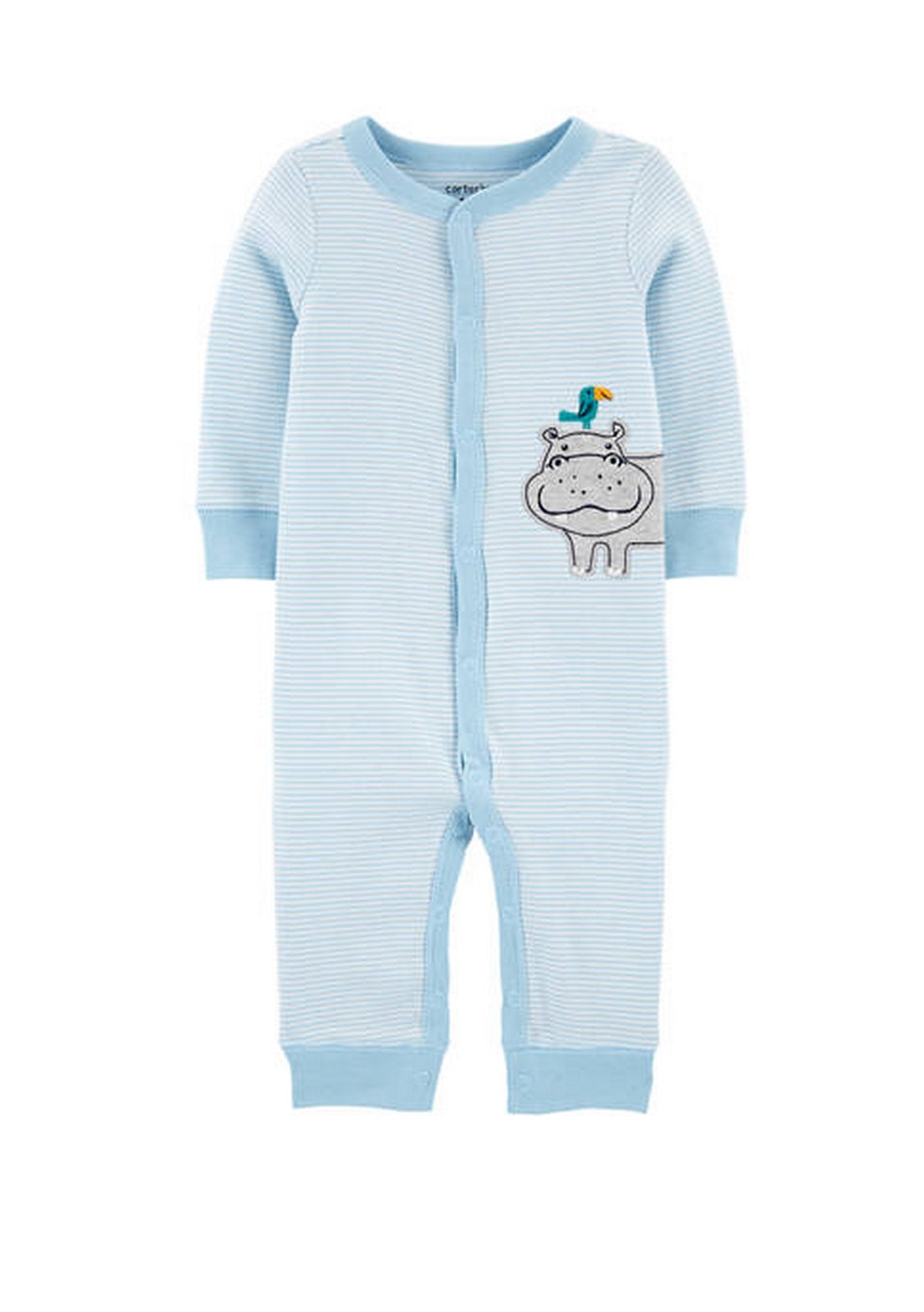 Carter's Striped Hippo Snap-Up Cotton Sleep & Play 1H807410