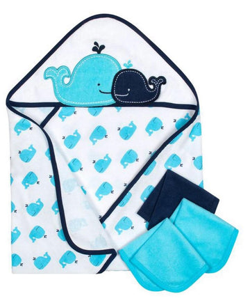 Gerber 4-Piece Boys Whale Hooded Towel & Washcloths Set  Modelo 13742416AB18OSZ