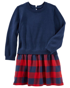 Carter's Plaid Flannel Sweater Dress  Modelo 22891310