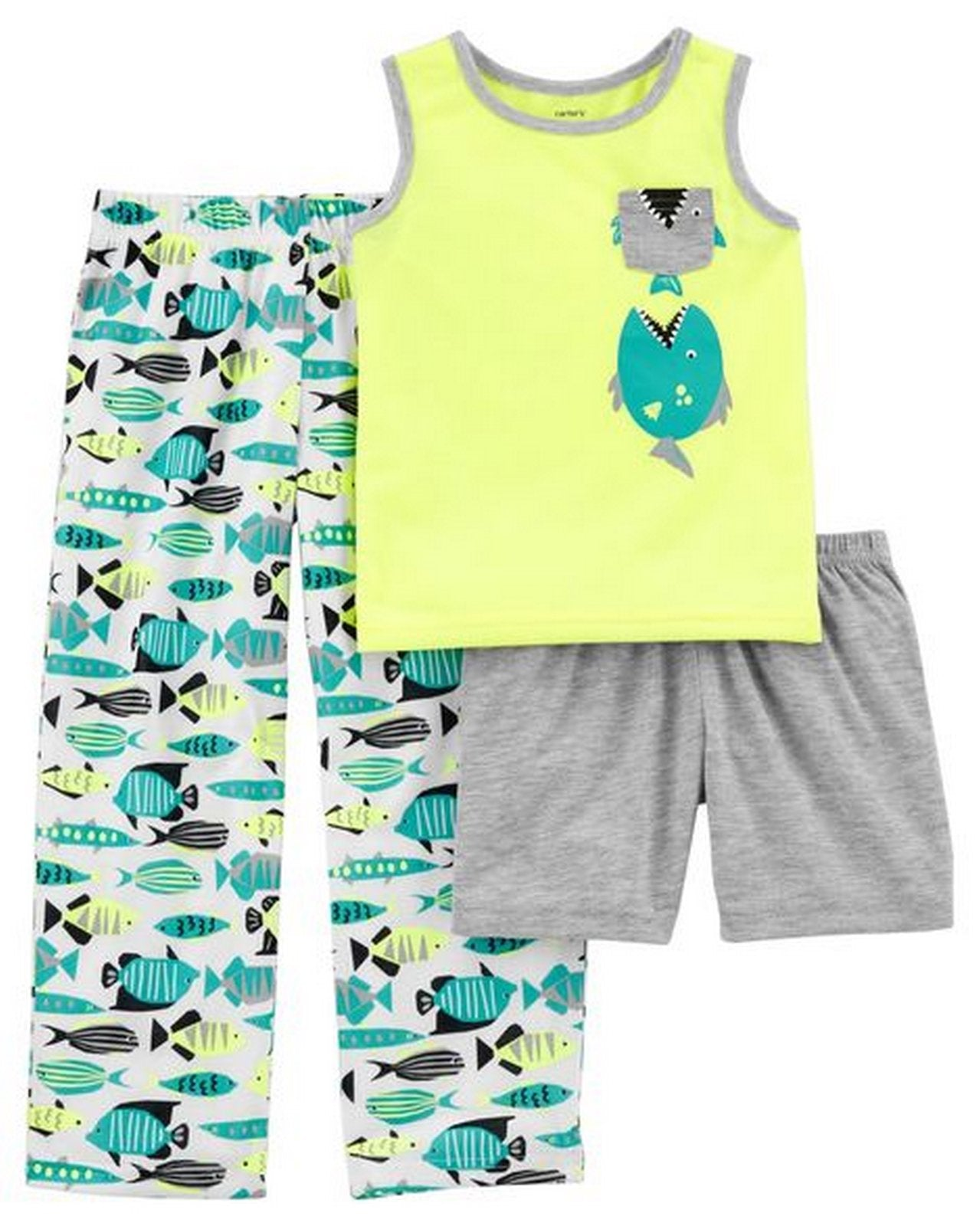 Carter's 3-Piece Neon Fish Poly PJs  Modelo 43717610