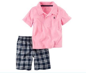 Carter's 2 pieces Pink baby kids Polo & Plaid Short Modelo 249G406