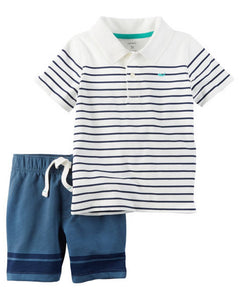 Carter's 2-Piece Striped Polo & French Terry Short Set  Modelo 249G414