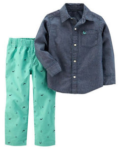 Carter's 2-Piece Chambray Top & Canvas Pant Set  Modelo 249G625