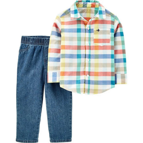 Carter's Toddler Boys 2-Piece Plaid Button-Front Top & Twill Denim Pants Set 2H358410