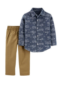Carter's Toddler Boys 2-Pc. Cotton Printed Chambray Shirt & Canvas Pants Set 2H358510