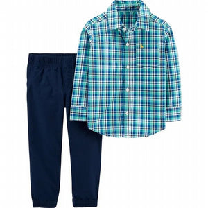 Carter's Toddler Boys 2 Piece Plaid Button Front Top and Poplin Pants Set 2H358710