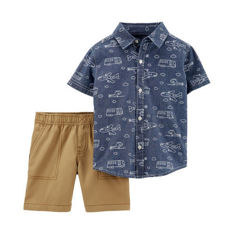 Carter's Toddler Boys 2-Pc. Cotton Printed Chambray Shirt & Shorts Set 2H360010