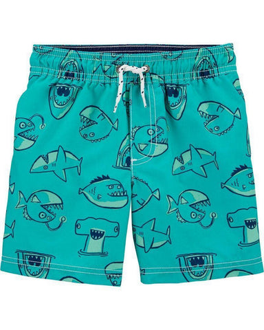 Carter's Toddler Boy Tuquoise Shark Swim Trunks 2H437110