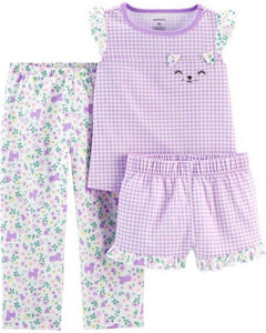 Carter's 3-Piece Floral Gingham Poly PJs 2H518110