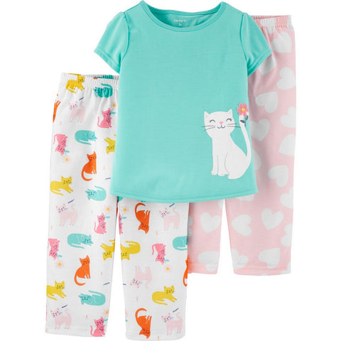 Carter's Toddler Girls 3 Piece Dinosaur Pajama Set 2H850610