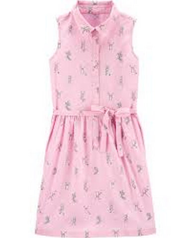 Carter's Girls Belted Sleeveless Shirt Dress 3H346710