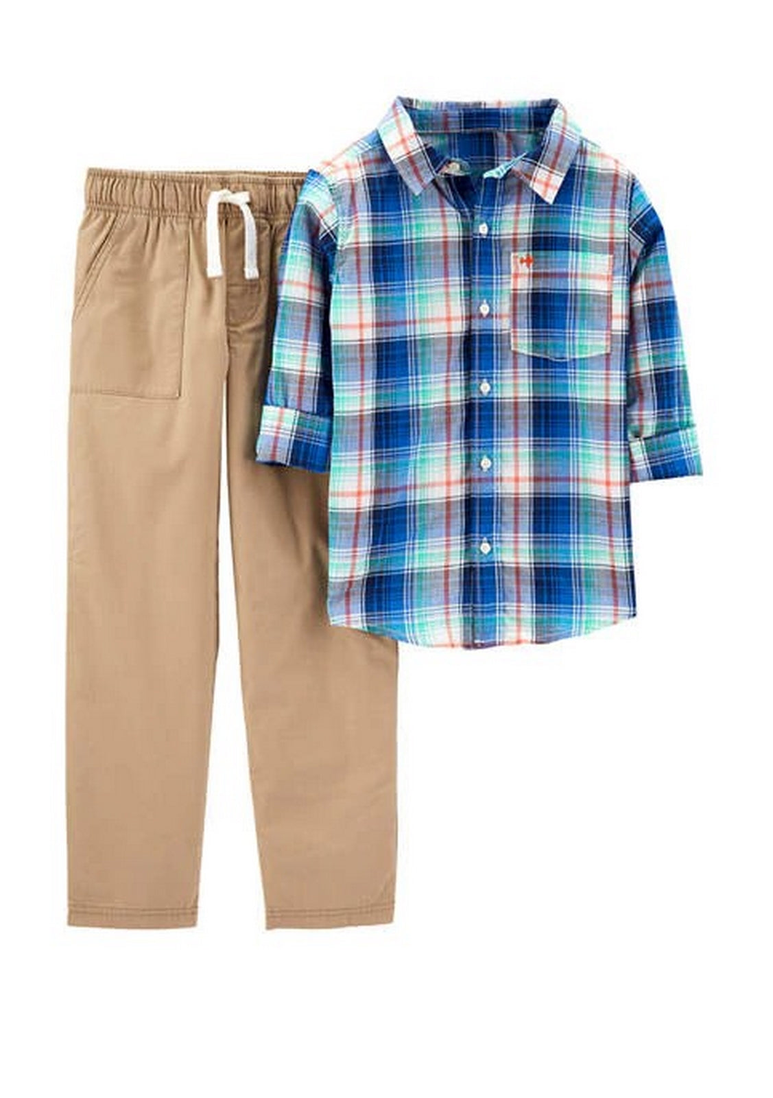 Carter's 2-Piece Plaid Button-Front Top & Khaki Pant Set 3H704910