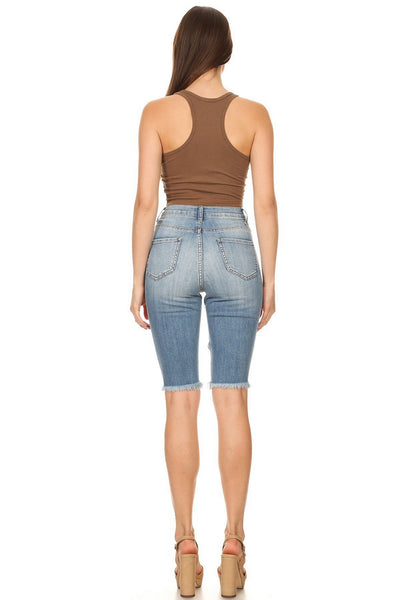 Aphrodite Destroyed Bermuda Jeans Light Denim  AP4222-LB