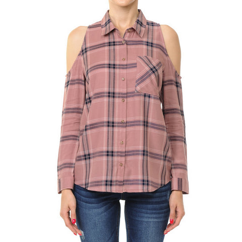 Ambiance Cold Shoulder Plaid Top  69672-1