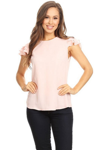 April Solid Short Sleeve Top  8098