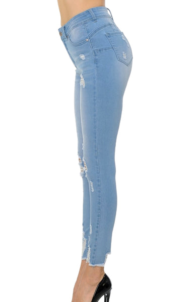 Wax Jean Women's High-Rise Destroyed Ankle Skinny Jeans 90175