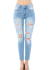 Wax Jean Women's High-Rise Repreve Fabric Destroyed Ankle Skinny Jeans  90225
