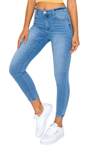 Wax Jean Women's High-Waist Knit Denim Ankle Skinny Jeans 90241