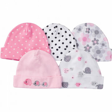 Gerber Girl's 5-Pack Knit Hats - Elephants, Dots & Floral  Modelo 930235230