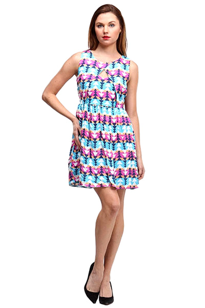 Moon Collection Women's Sleeveless Printed Casual Dress Blue Multi  BD111201