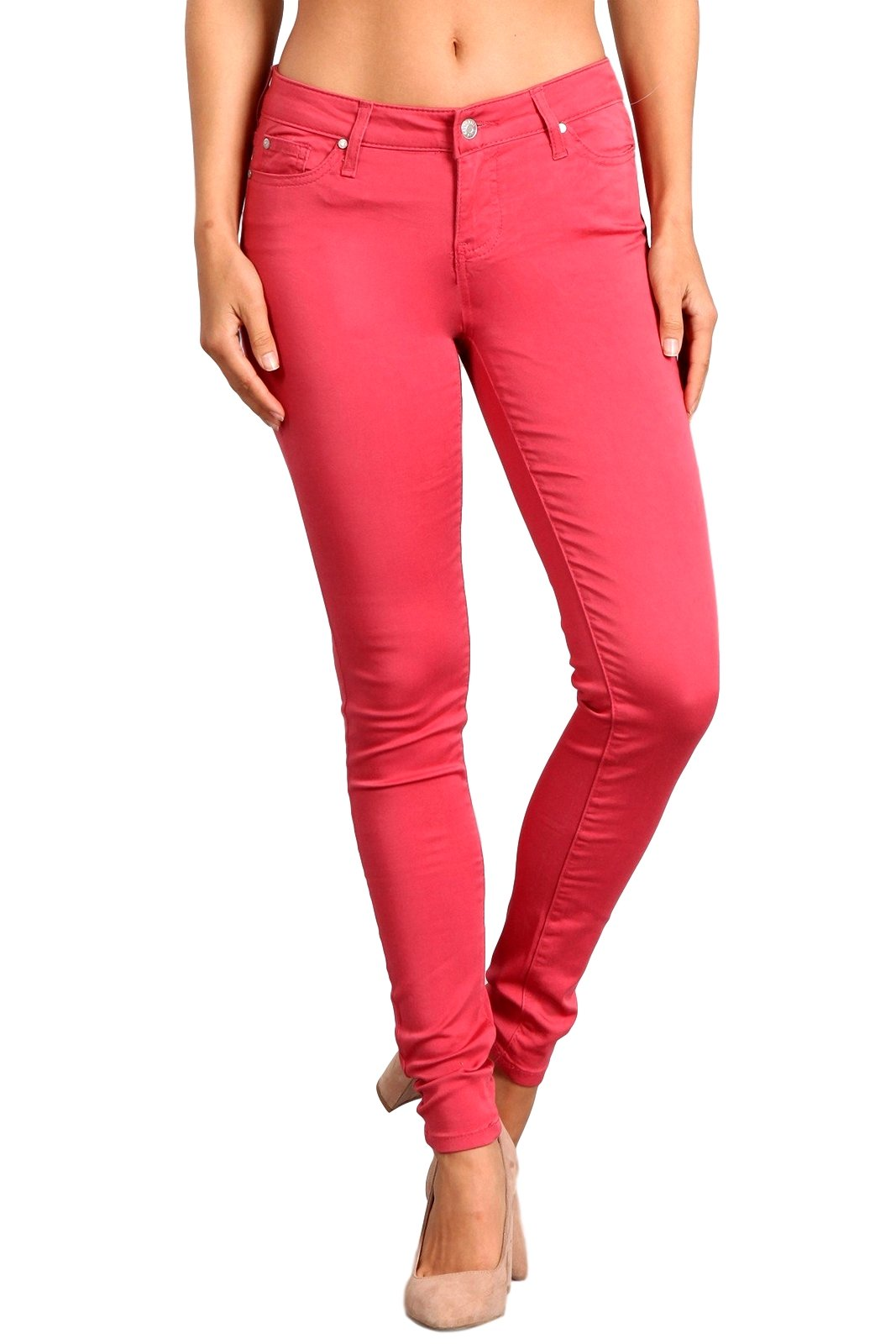 Celebrity Pink Women's Mid Rise Colored Skinny Pants Rose Petal  CJ21038Z35-RS