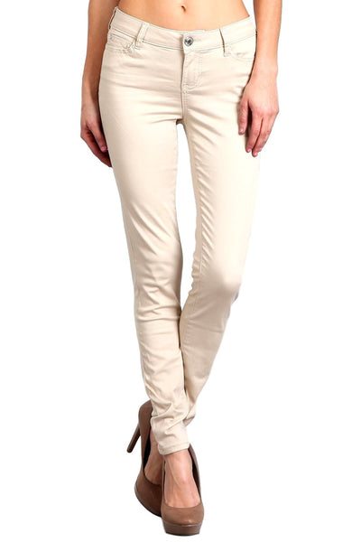 Celebrity Pink Women's Mid Rise Colored Skinny Pants Stone  CJ21038Z35-ST