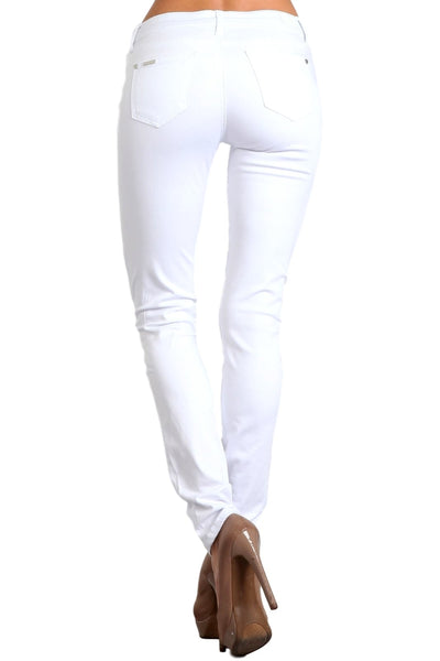 Celebrity Pink Women's Mid Rise Colored Skinny Pants White  CJ21038Z35