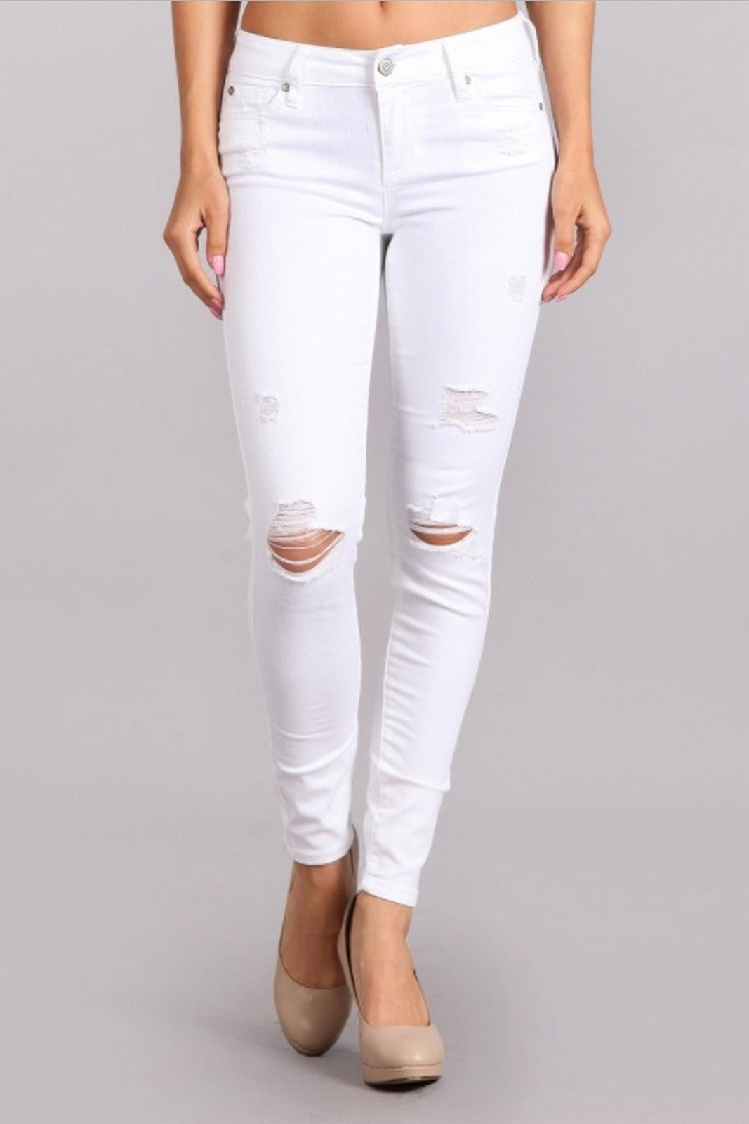 Celebrity Pink Women's Mid Rise Destroyed Skinny Jeans White  CJ22005H50