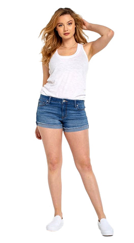 Celebrity Pink Women's Fray Flip Cuff Shorts Jeans