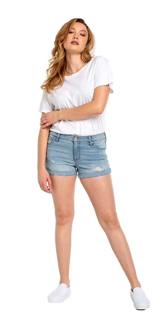 Celebrity Pink Jeans Womens 3 Mid Rise Fray Cuff Denim Short Shorts