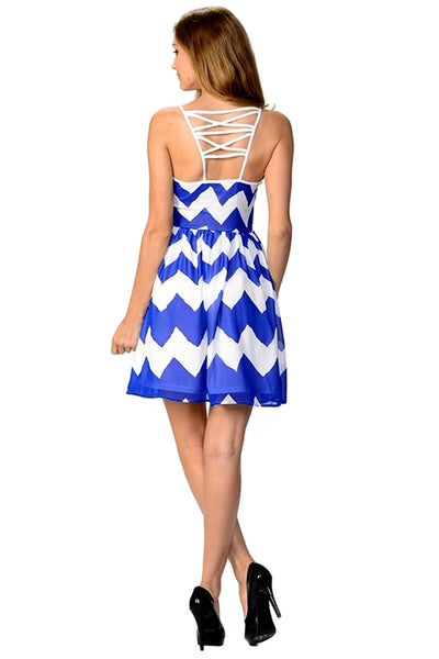 Moon collection Women's Sleeveless Casual Dress Royal Blue  DK81232