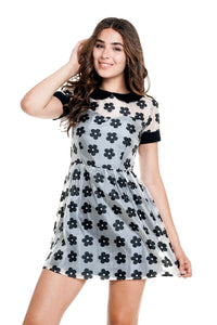 Moon Collection Women's Short Sleeves Casual Dress Black/White  DN90713