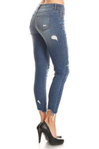 EnJean Women's Mid Rise Destroyed Skinny Jeans Medium Wash EP3015