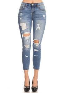 EnJean Mid Rise Destroyed Cropped Skinny Jeans  EP3025