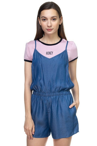 BLVD Romper Denim  Modelo IP7380-T