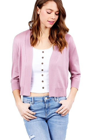Active USA Women's 3/4 Sleeve Open Front Crop Cardigan