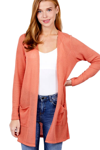 Active USA Women's Long Sleeve Sise Slit Open Front Knit Cardigan
